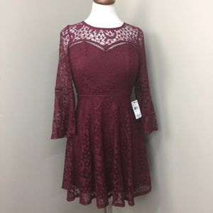 NWT BCX Burgundy Lace Fit Flare Bell Sleeve Dress